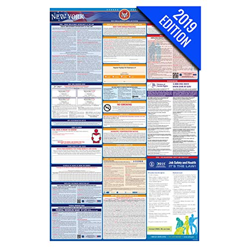(2019 New York Labor Law Poster – State, Federal, OSHA Compliant – Laminated Mandatory All in One Poster)