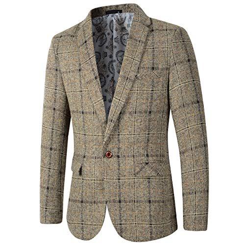 Men's Casual One Button Slim Fit Blazer Suit Jacket (603 Khaki, L) ()