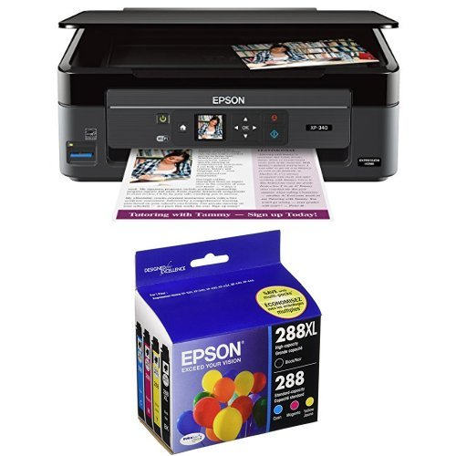 Epson Expression Home XP-340 Wireless Color Photo Printer with Scanner and Copier with Epson T288XL-BCS Cartridge Ink, 4 Pack, Black by Epson