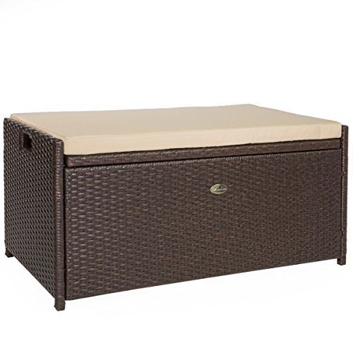 Barton Outdoor Storage Bench Rattan Style Deck Box w/Cushion, 60-Gallon