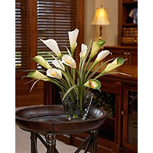 Calla Lily & Foliage Silk Centerpiece - White/Green 91