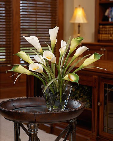 Calla Lily & Foliage Silk Centerpiece - White/Green by Petals Silkflowers