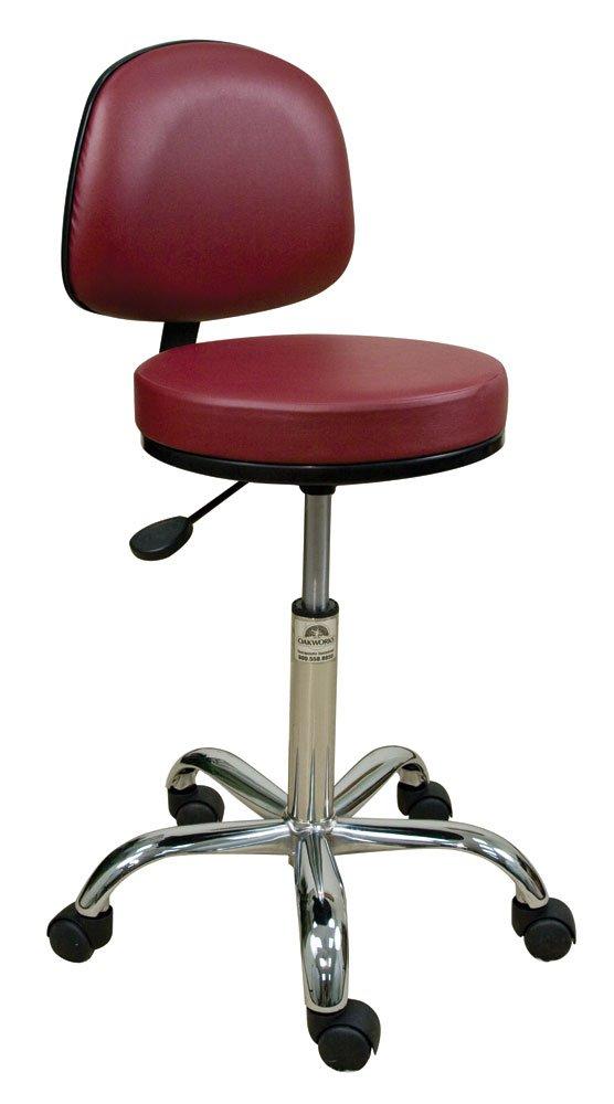 Oakworks 60356-T08 Professional Stool with Backrest, Ruby Upholstery by Oakworks