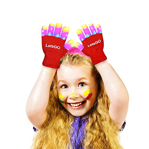 Top Best Toys for 3-10 Year Old Girls, DIMY LED Gloves Finger Lights Fingertips Flashing New Cool Party Favor Hot Birthday Gifts for 3-12 Year Old Girls DMUSTG4 Red