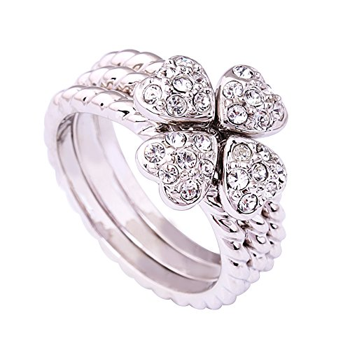 (Acefeel Trendy Clover Ring Sets Silver Serratula Shaped Band Heart Bow-knot Womens Ring Gift R194 Size 7)
