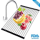 Roll Up Dish Drying Rack, Stainless Steel Over the Sink Dish Drainer, Foldable Large Dish Drying Mat, Kitchen Drain Rack 17.7'' L x 11.3'' W (Black)