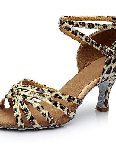 de Satin Personnalisé Noir ShangYi Chaussures Personnalisables Argent Talon Marron Similicuir danse Léopard Gold Autre Or Hq75tP5x