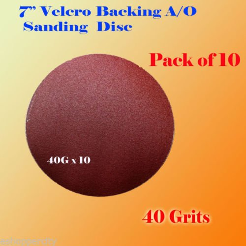 "Pack of 10x 7"" 40 Grit Sanding Disc Paper Hook and Loop Back"