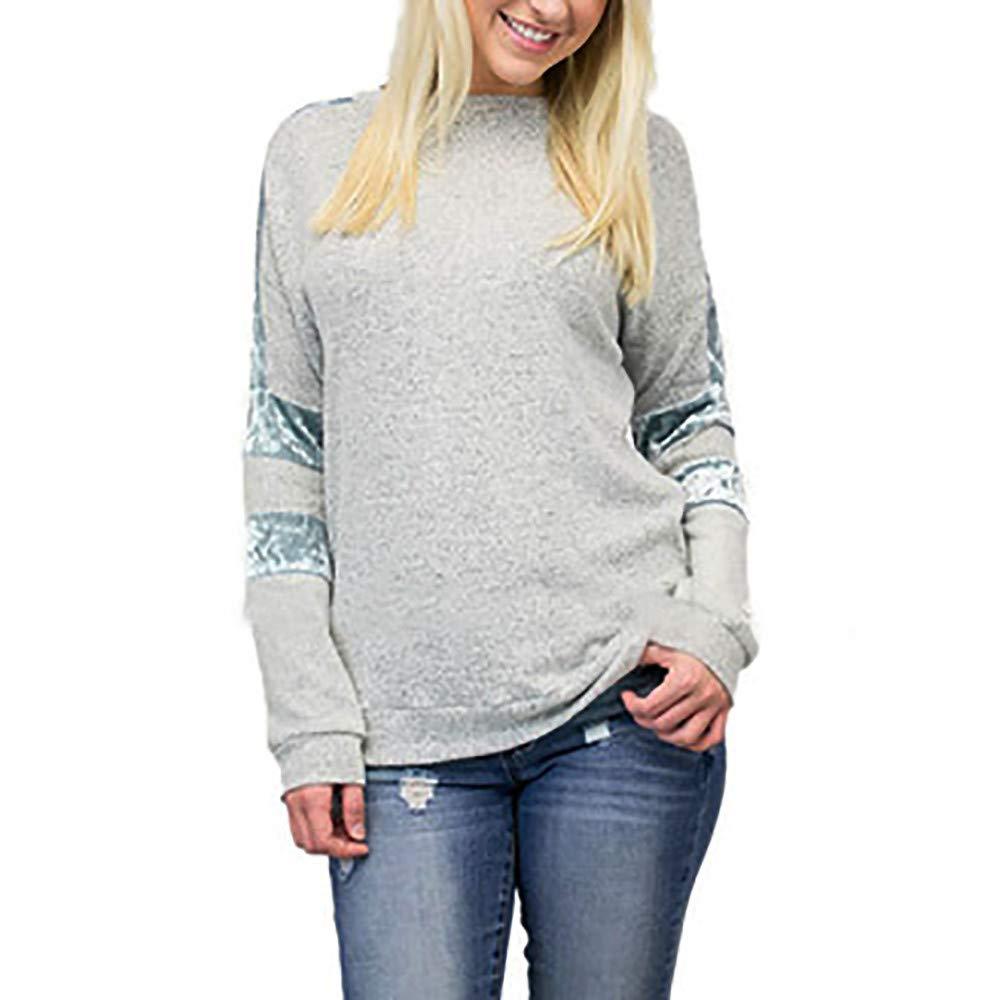 Sannysis Women Casual Stripe Patchwork Long Sleeve Ladies Blouse Pullover Tops Shirt, Sky Blue XL