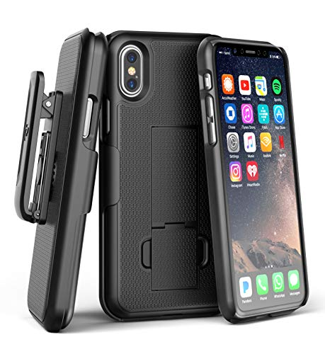 (Encased DuraClip Belt Case for Apple iPhone Xs Max (2018) - Ultra Slim Grip Cover w/Holster Clip (Black))