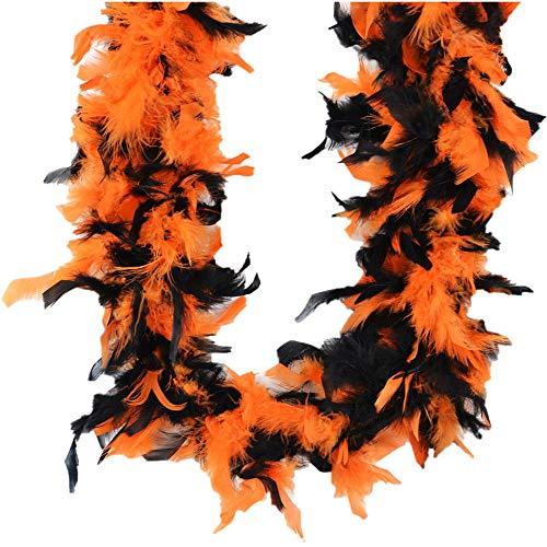 Forum Novelties Women's 55-Gram Turkey Feather Boa, Orange/Black, One Size -