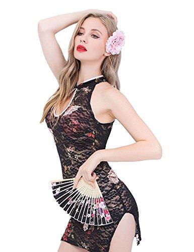 M_Eshop Sexy Bedroom Outfits Lovers Schoolgirls Cop Lingerie Erotic Bedroom Costume Teddy Set (Cheongsam)]()