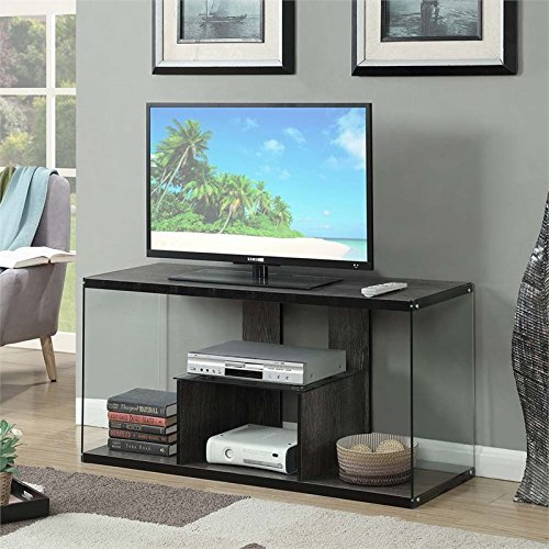 Convenience Concepts 131590WGY SoHo TV Stand, Weathered (Glass Set Entertainment Center)