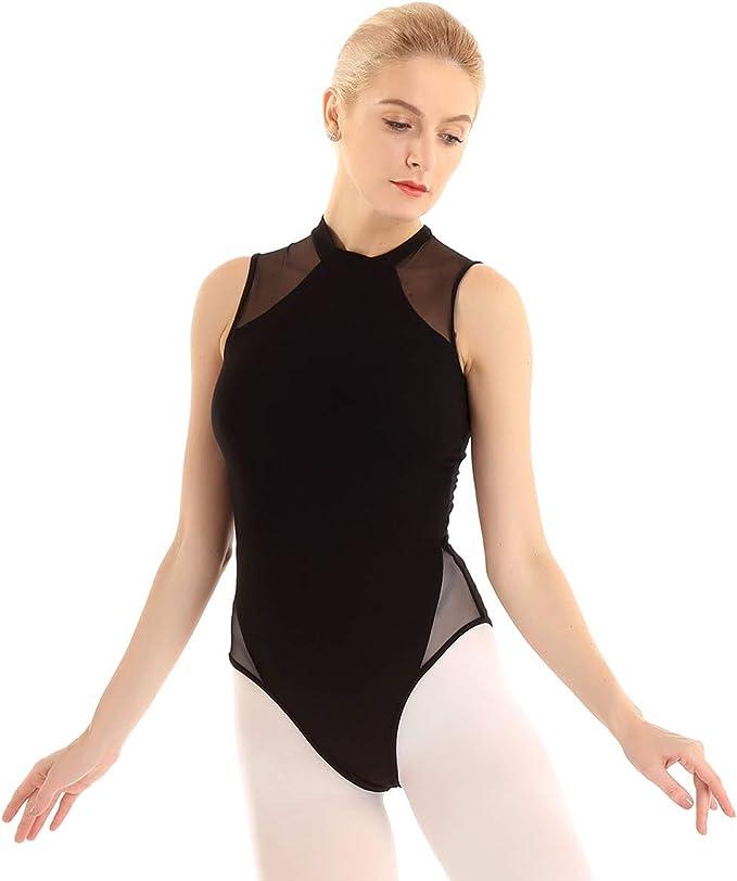 XS-XL Agoky Damen Ballettkleid Ballettanzug Mesh Splei/ß Stehkragen Ballettbody Ballettrock mit Schlitz Leotards Turnanzug gr