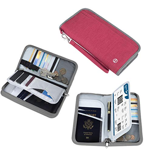 Vemingo Family Passport Holder RFID-Blocking Travel Wallet Ticket Holder Document Organizer with Zipper for Women Men, Fits 5 Passports