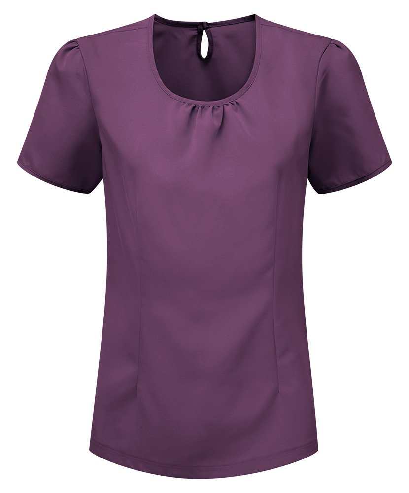 Plain Size: 8 Alexandra STC-NF64GR-08 Womens Round Neck Crepe De Chine Blouse Grape 100/% Polyester
