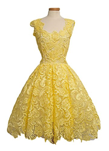Sleeveless Cocktail Back Short Botong Homecoming Zip Lace Graduation Dresses with Yellow wgqaxUq