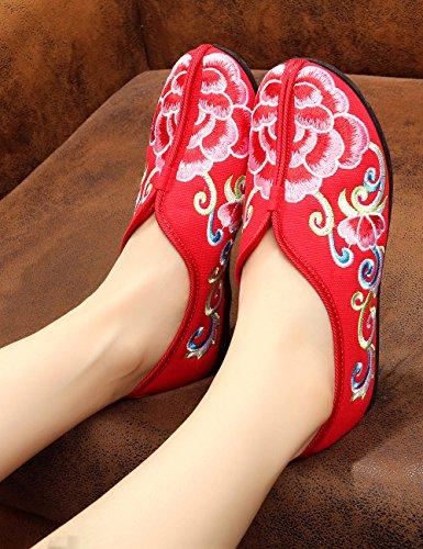 Fanwer Mujeres Embarazadas Lona Suave Bordado Deslizamiento Piso De Suela De Goma Loafer Engrosamiento Mamá Zapatos Rojo