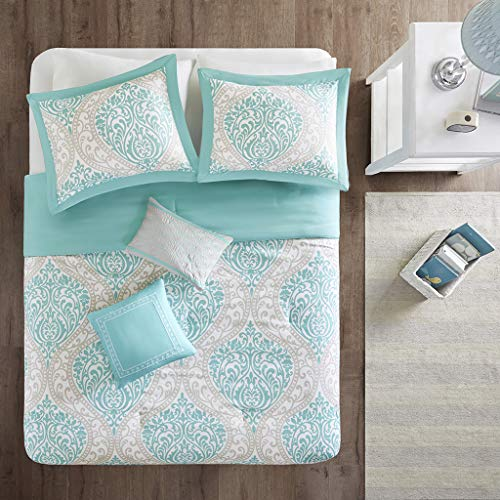 Intelligent Design Senna Comforter Set Full/Queen Size - Aqua Blue/Gray, Damask – 5 Piece Bed Sets – All Season Ultra Soft Microfiber Teen Bedding - Great for Guest Room and Girls Bedroom