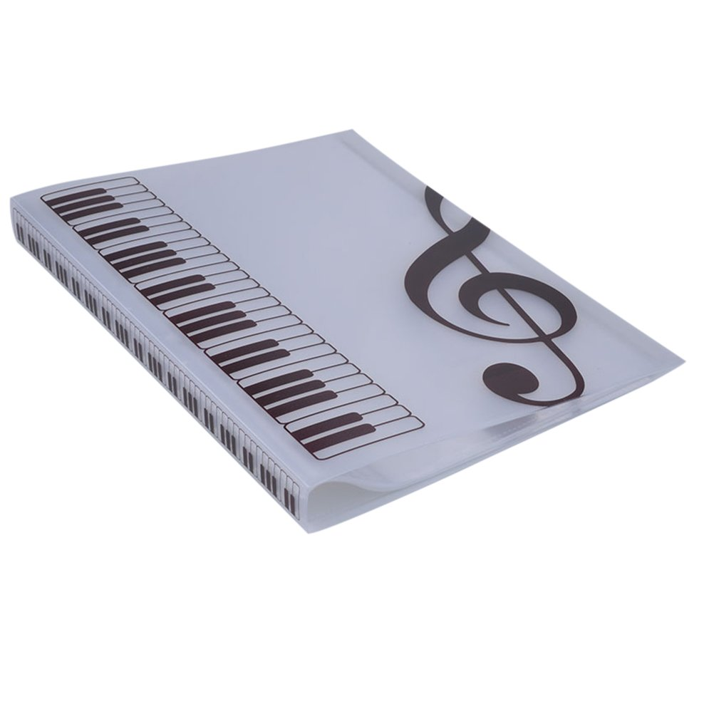 Music Sheet File Paper Documents Storage Folder 40 Pockets Holder (White)