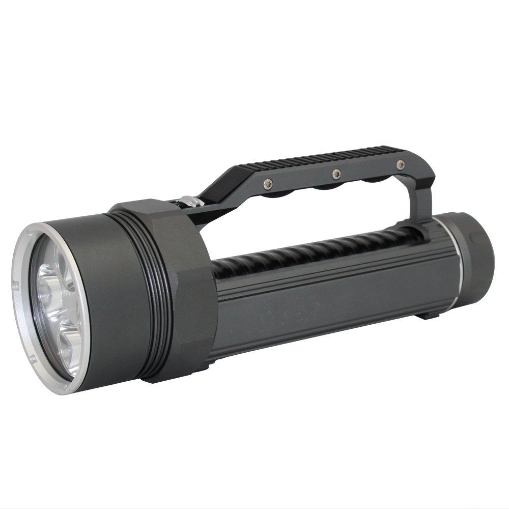 4 lumières-noir & gris 4 lumières KC Fire 6000 luPour des hommes XM-L2 professionnel plongée lampe de poche, lumineux LED professionnel plongée étanche lumières lampe torche pour l'extérieur sous l'eau Sports