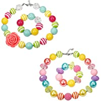 Finrezio 1-2 Pairs Cute Chunky Bubblegum Necklace and Bracelet set for Girls