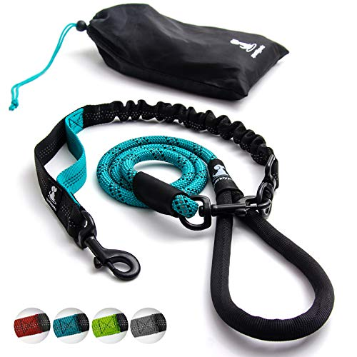 SparklyPets Heavy Duty Rope Leash for Large and Medium Dogs with Anti-Pull Bungee for Shock Absorption - No Slip Reflective Leash for Outside – Suitable for Dog Training and Walking (Teal)