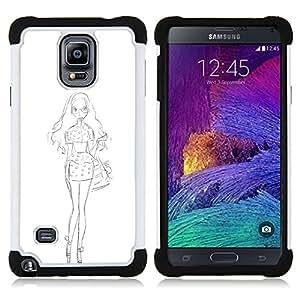 - WHITE SKETCH DRESS FASHION PENCIL - - Doble capa caja de la armadura Defender FOR Samsung Galaxy Note 4 SM-N910 N910 RetroCandy