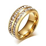 Wensltd Clearance! Unisex Titanium Steel Ring Men Women Wedding Engagement Band (#8, Gold)
