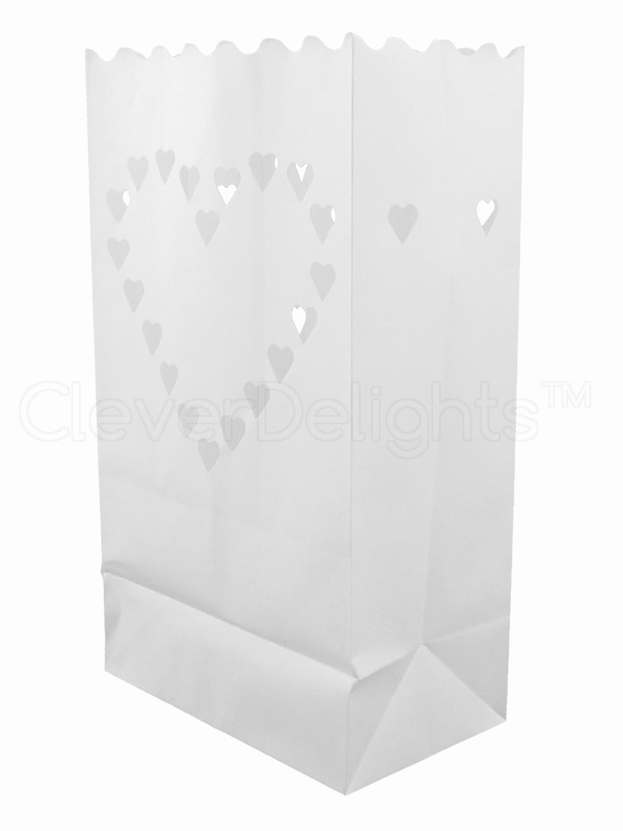 CleverDelights White Luminary Bags - 50 Count - Big Heart Design - Flame Resistant Paper - Wedding, Reception, Party and Event Decor - Luminaria Candle Bag