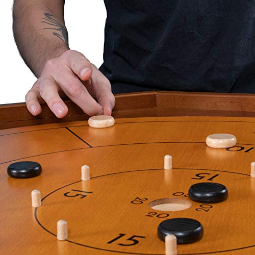 Tournament Crokinole & Checkers - 30-Inch Official Size - Classic Dexterity Board Game for Two Players - Canadian Heritage Family Tabletop Game - Includes 24 Black & White Discs, Rules & Game Board
