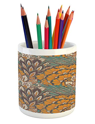 Ambesonne Floral Pencil Pen Holder, Pattern of Flowers and Peacock Feathers Floral Arrangement Artwork, Printed Ceramic Pencil Pen Holder for Desk Office Accessory, Petrol Blue and Pale Coffee