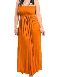 2ffed256ec9 HDE Women s Strapless Maxi Dress Plus Size Tube Top Long Skirt ...