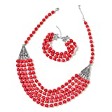 Red Howlite Beads Silvertone Bracelet 7.5'' and Necklace Jewelry Set For Women 20''
