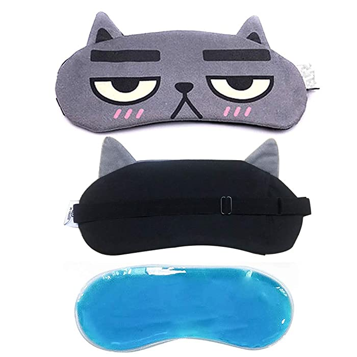 Cooling Eye Mask for Migraines,Winshope Cute Cat Cold Eye Mask with Gel Inserts for Hot Cold Therapy,Puffy Eyes,Headache,Stress Relief,Dark Circles