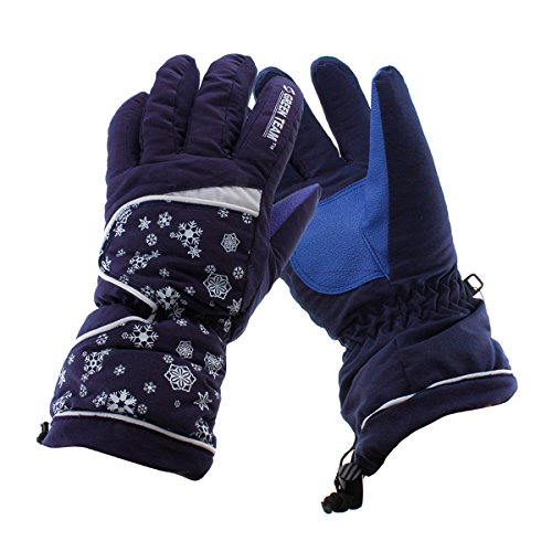 Ieasysexy Women's Snowflake Waterproof Lined Ski Glove Outdoor Sports Snow Skiing Riding Motorcycle Warm Protective Full Finger Gloves Perfect Xmas Gift (M, Dark Pruple)