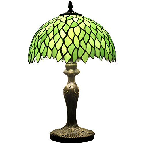 Glass Glass Stained Lamp Table (Tiffany Style Table Lamp Light Green Wisteria Stained Glass Lampshade 18 Inch Tall Beside Bedroom Desk Lamps Antique Zinc Base for Living Room Office Lighting)