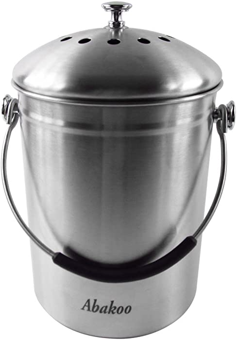 Abakoo Compost Bin 304 Stainless Steel Kitchen Composter Waste Pail Indoor Countertop Kitchen Recycling Bin Pail - Includes 4 Charcoal Filters Clean & Odor Free (1.3 Gallon)