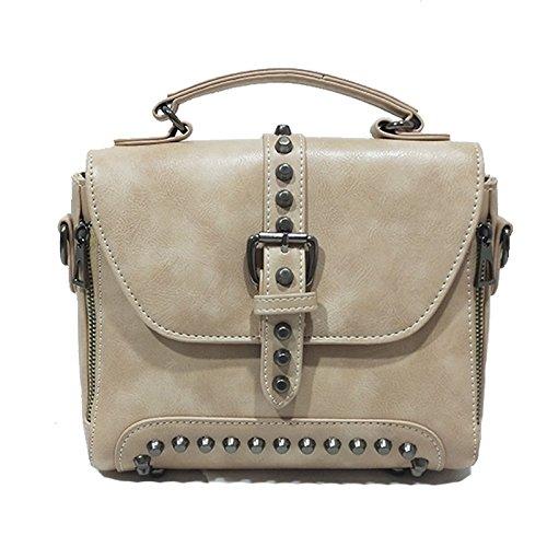 Messenger à Vintage Sac à Lightbrown Lady Main Rivet Bag Fashion Bandoulière Sac zUwZqA