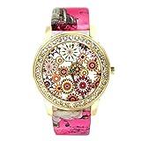 START Women Bling Diamond Crystal Oil Painting Pattern Wrist Watch-Pink