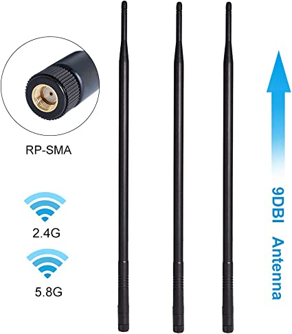 3 9dBi 2.4GHz 5GHz 5.8GHz Dual Band RP-SMA WiFi Antenna Router Network Extension