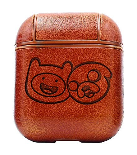 (FINN Jake Adventure TIME (Vintage Brown) Air Pods Protective Leather Case Cover - a New Class of Luxury to Your AirPods - Premium PU Leather and Handmade exquisitely by Master Craftsmen)