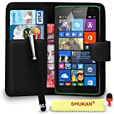 Microsoft Lumia 535 Premium Leather Black Wallet Flip Case Cover Pouch + Big Touch Stylus PenRED DS+ Screen Protector & Polishing Cloth SVL2 BY SHUKAN®, (WALLET BLACK)