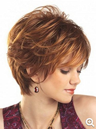 [B-G  Short Curly Wig Synthetic Hair Wig Party Cosplay Wig for Women WIG071] (Curly Synthetic Hair)