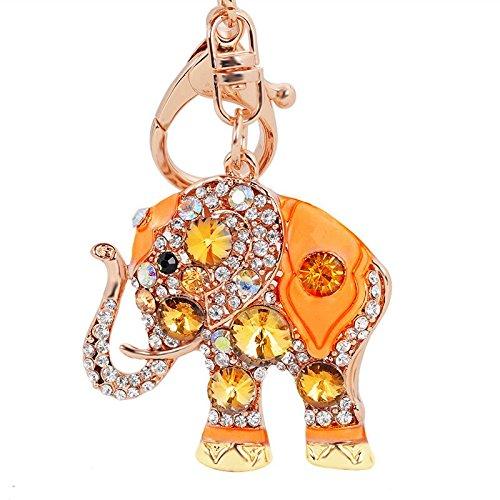 Axmerdal Gold-Tone Bling Crystal Animal Featured Elephant Keychain Key Chain Super Cute Purse Handbag Charm Gift (Yellow ()