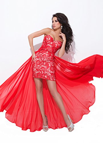 Tony Bowls 114725 Strapless Lace High Low Dress, Red/Nude, Size 4