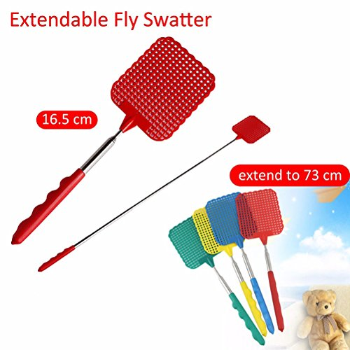 Portable Outdoor Swatters Telescopic Fly Killer Fly Swatter Stainless steel Anti Mosquito Pest Reject Insect Killer By Martial