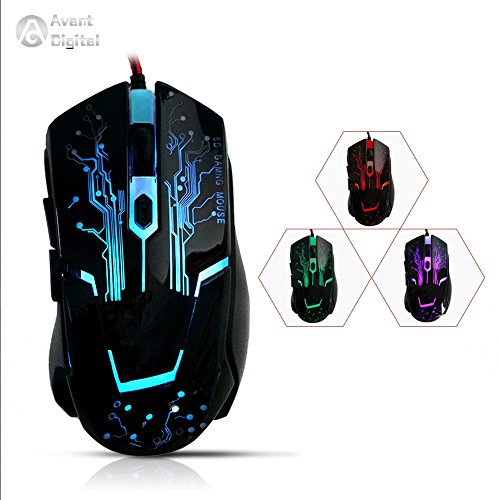 2017 Newest AD Game Mouse Optical Ergonomic USB Wired Gaming Mice Building in Drive Adjustable 2000 DPI 6 Buttons 7 Breathing LED Colors Braided Fiber Cable for PC Laptop Desktop and Mac(Black)