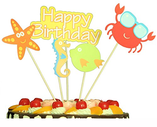 Happy Birthday Cake Topper Seahorse Starfish Crab Fish Ocean Little Animals Party Decorations Supplies