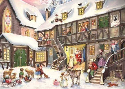 Santa in Village German Christmas Advent Calendar